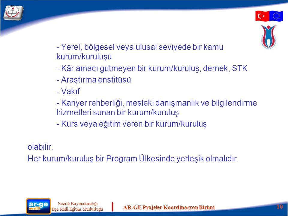 - Yerel, bölgesel veya ulusal seviyede bir kamu kurum/kuruluşu