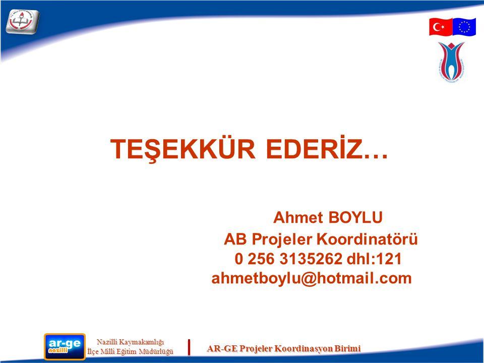 TEŞEKKÜR EDERİZ… Ahmet BOYLU AB Projeler Koordinatörü 0 256 3135262 dhl:121 ahmetboylu@hotmail.com