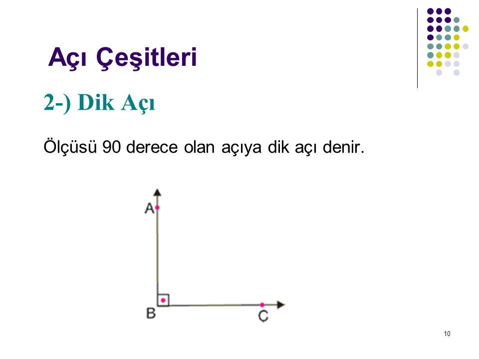 Açı Çeşitleri 2-) Dik Açı Ölçüsü 90 derece olan açıya dik açı denir.