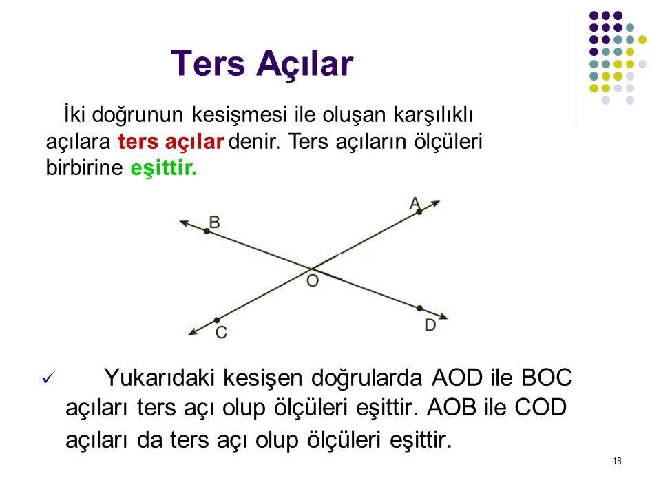 Ters Açılar İki doğrunun kesişmesi ile oluşan karşılıklı açılara ters açılar denir. Ters açıların ölçüleri birbirine eşittir.