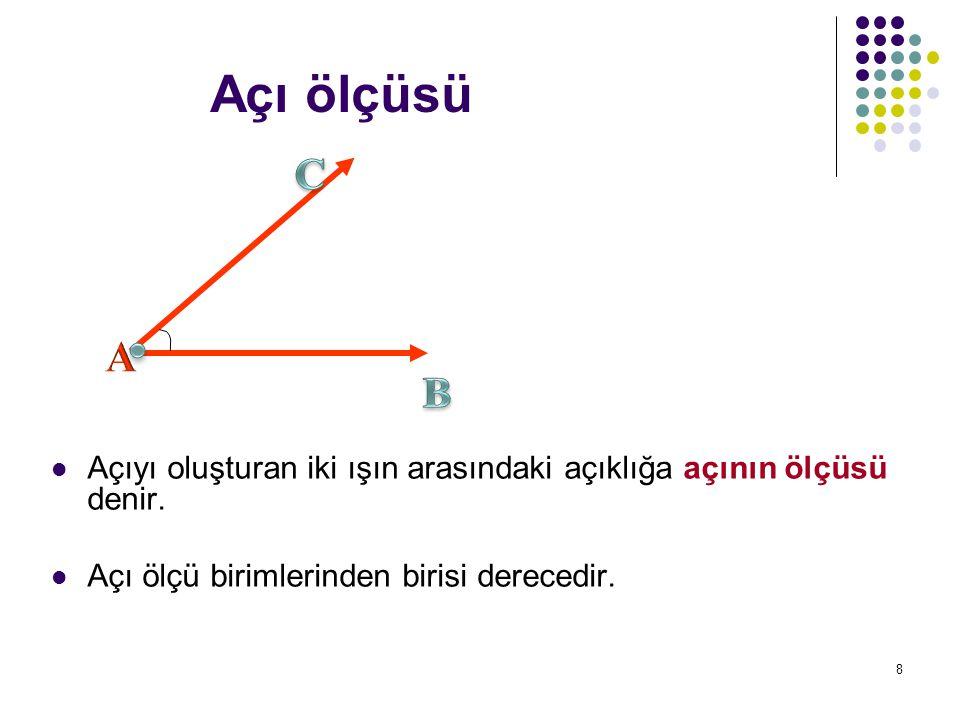 Açı ölçüsü C. . A. B. Açıyı oluşturan iki ışın arasındaki açıklığa açının ölçüsü denir.