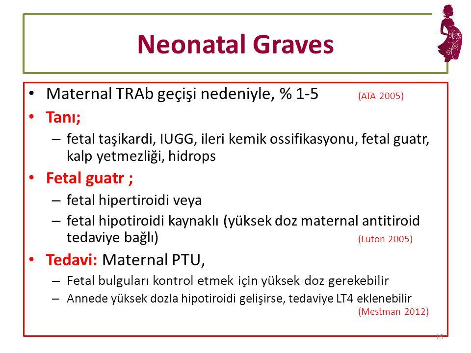 Neonatal Graves Maternal TRAb geçişi nedeniyle, % 1-5 (ATA 2005) Tanı;