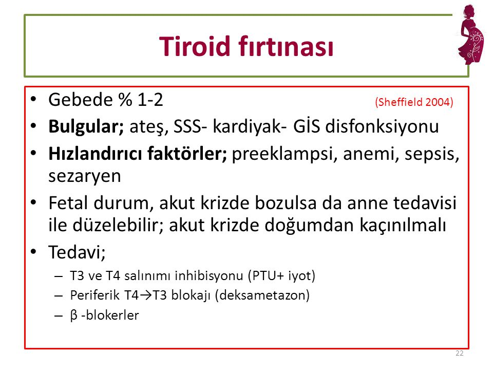 Tiroid fırtınası Gebede % 1-2 (Sheffield 2004)