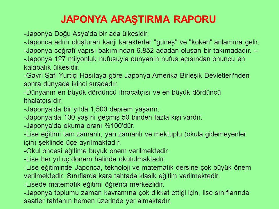JAPONYA ARAŞTIRMA RAPORU