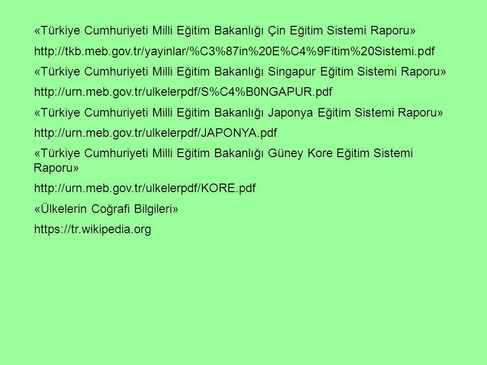 «Türkiye Cumhuriyeti Milli Eğitim Bakanlığı Çin Eğitim Sistemi Raporu»