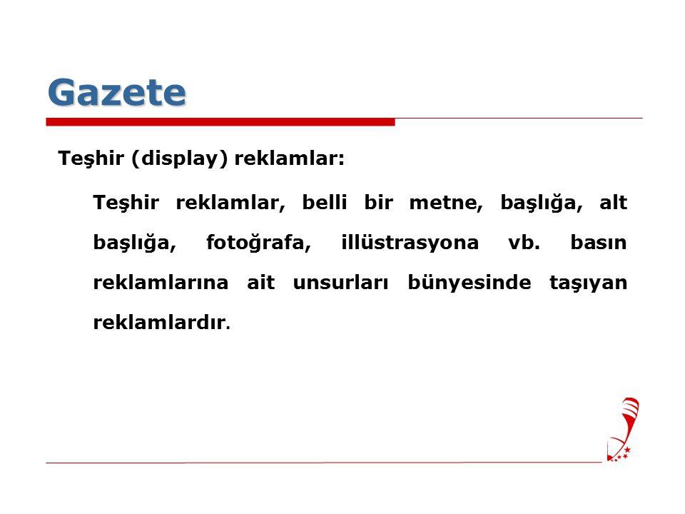 Gazete Teşhir (display) reklamlar: