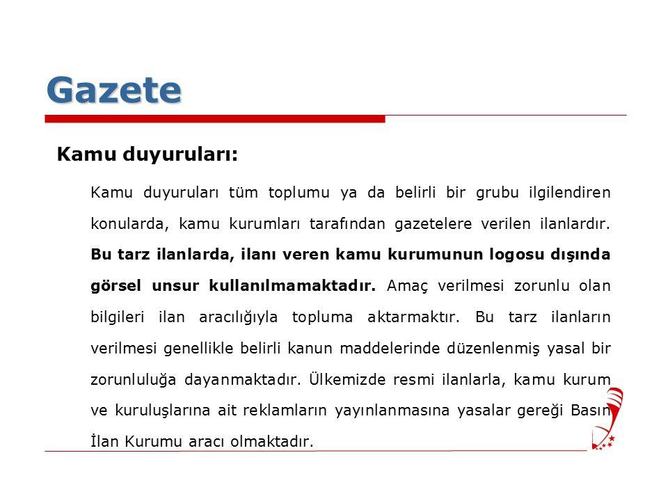 Gazete Kamu duyuruları: