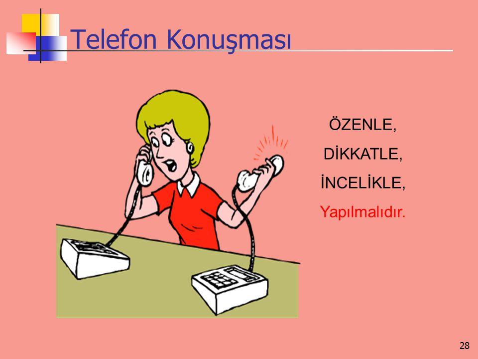 Telefon Konuşması ÖZENLE, DİKKATLE, İNCELİKLE, Yapılmalıdır.