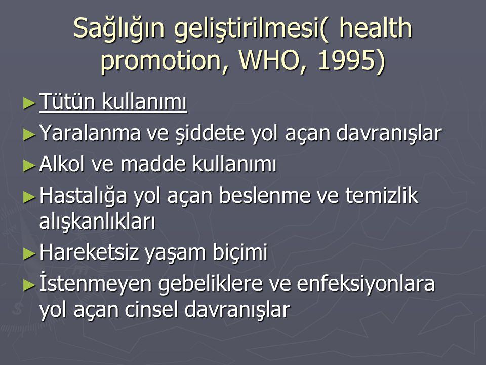 Sağlığın geliştirilmesi( health promotion, WHO, 1995)