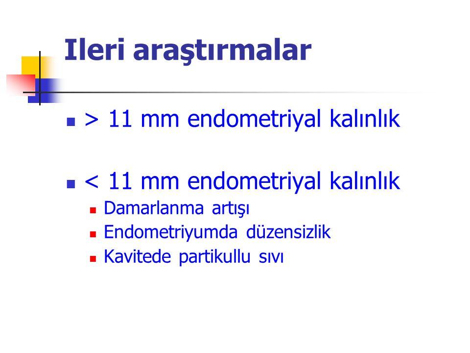 Ileri araştırmalar > 11 mm endometriyal kalınlık