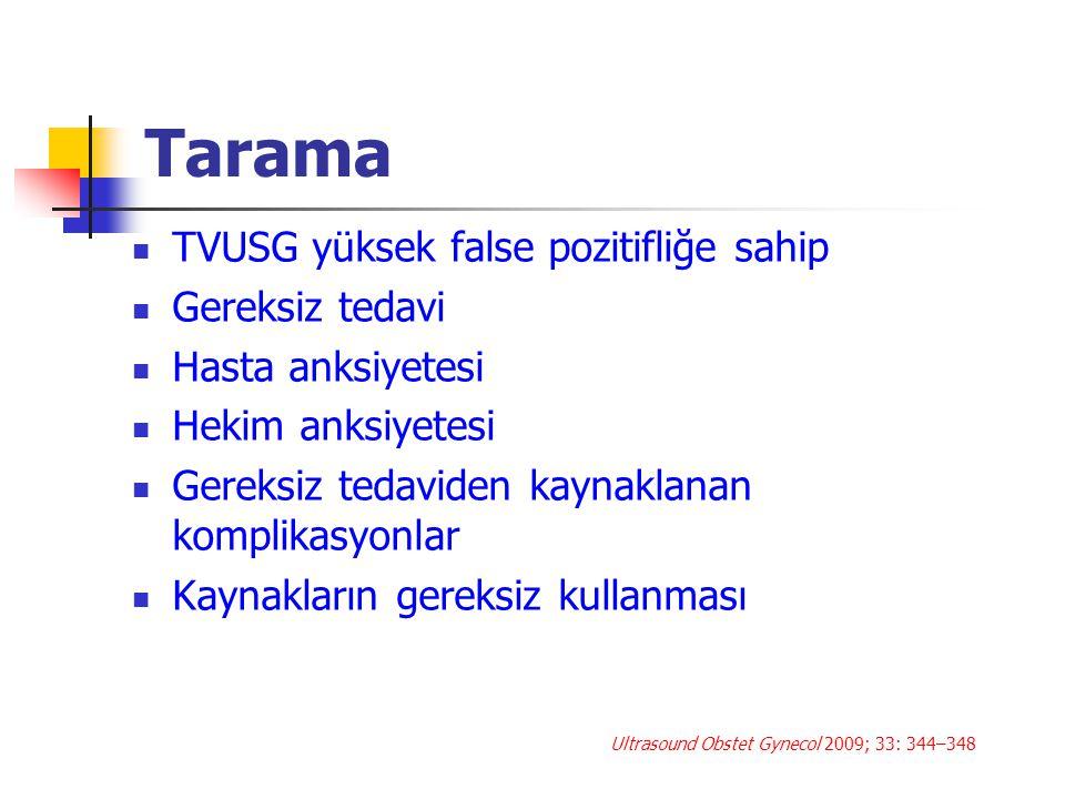 Tarama TVUSG yüksek false pozitifliğe sahip Gereksiz tedavi