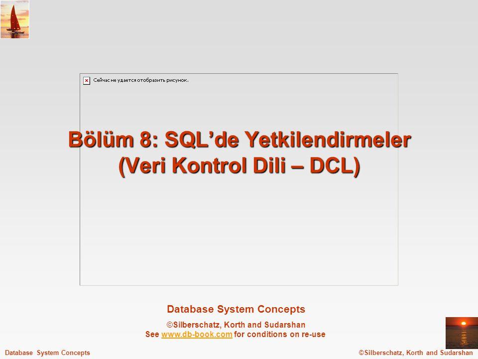 Bölüm 8: SQL'de Yetkilendirmeler (Veri Kontrol Dili – DCL)