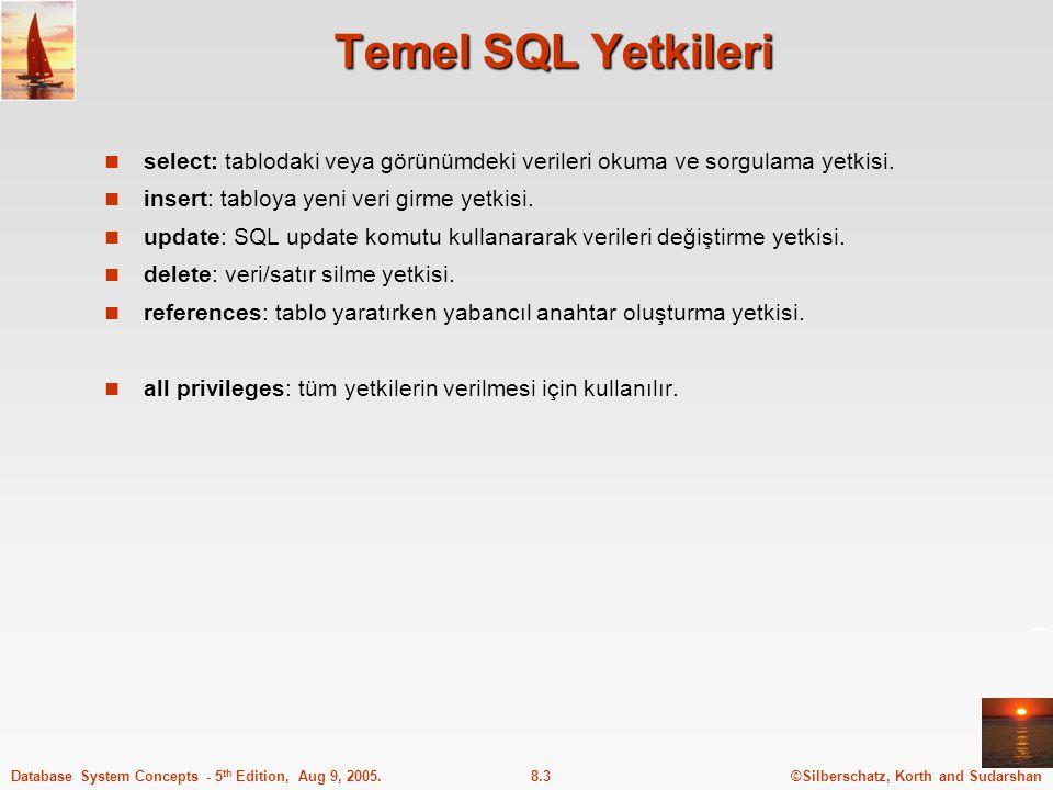 Temel SQL Yetkileri select: tablodaki veya görünümdeki verileri okuma ve sorgulama yetkisi. insert: tabloya yeni veri girme yetkisi.