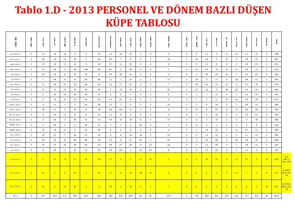Tablo 1.D - 2013 PERSONEL VE DÖNEM BAZLI DÜŞEN KÜPE TABLOSU