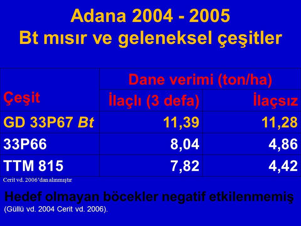 Adana 2004 - 2005 Bt mısır ve geleneksel çeşitler