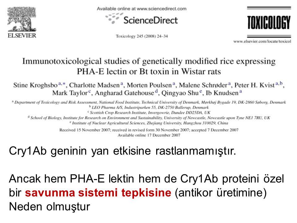 Cry1Ab geninin yan etkisine rastlanmamıştır.