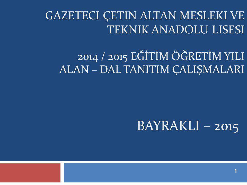 Gazeteci çetin altan mesleki ve teknik anadolu lisesi 2014 / 2015 EĞİTİM ÖĞRETİM YILI ALAN – DAL TANITIM ÇALIŞMALARI