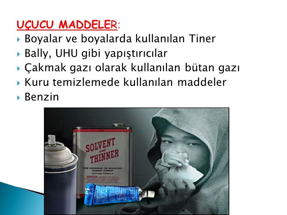 UÇUCU MADDELER: Boyalar ve boyalarda kullanılan Tiner. Bally, UHU gibi yapıştırıcılar. Çakmak gazı olarak kullanılan bütan gazı.