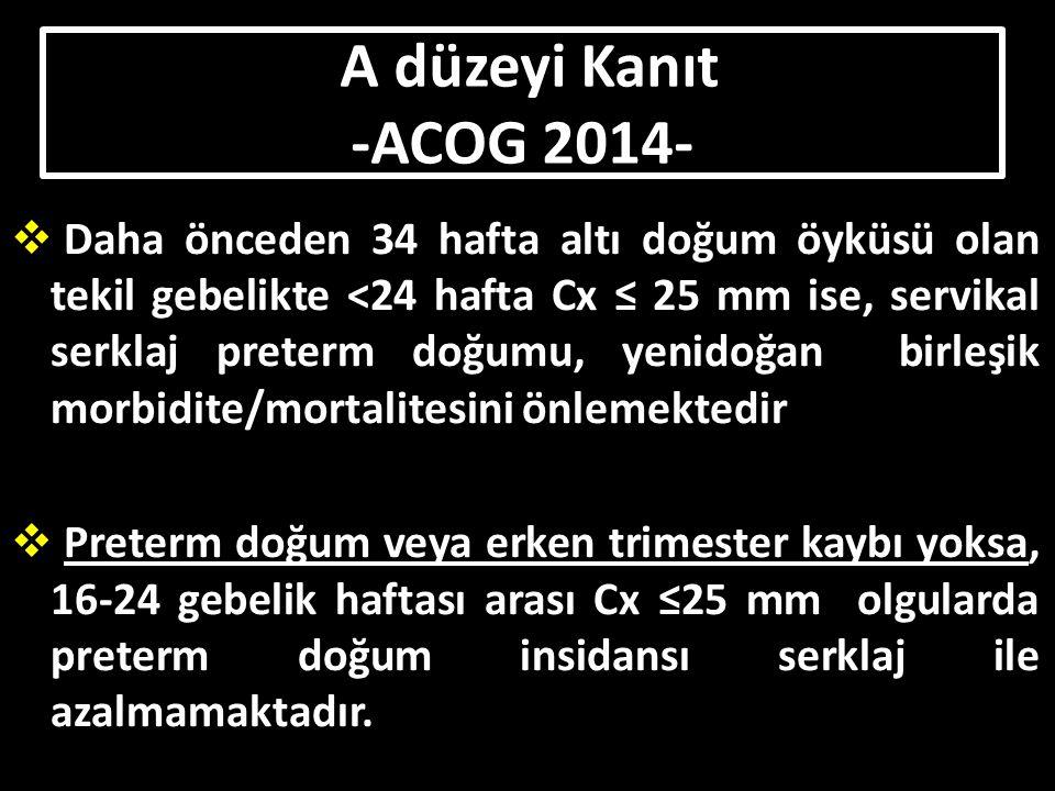 A düzeyi Kanıt -ACOG 2014-
