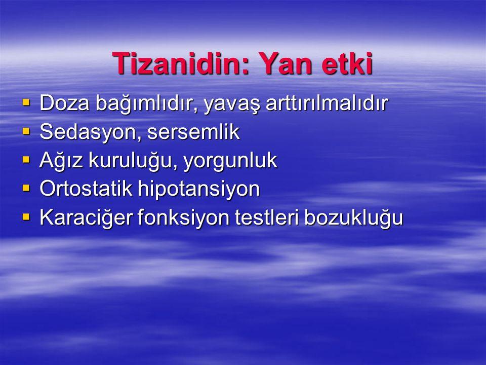 Tizanidin: Yan etki Doza bağımlıdır, yavaş arttırılmalıdır