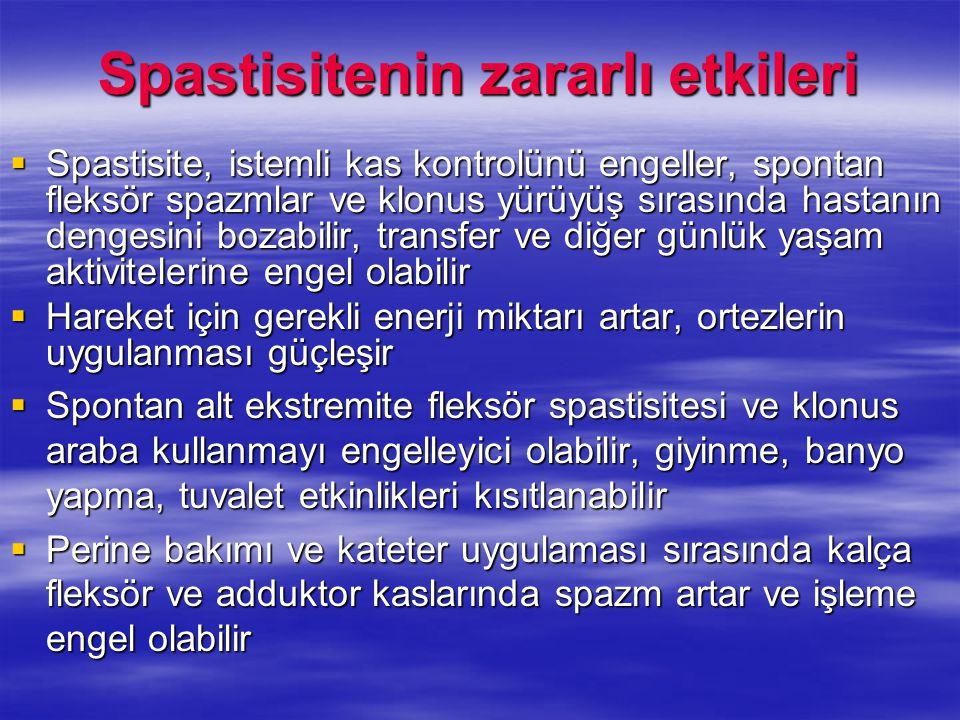 Spastisitenin zararlı etkileri