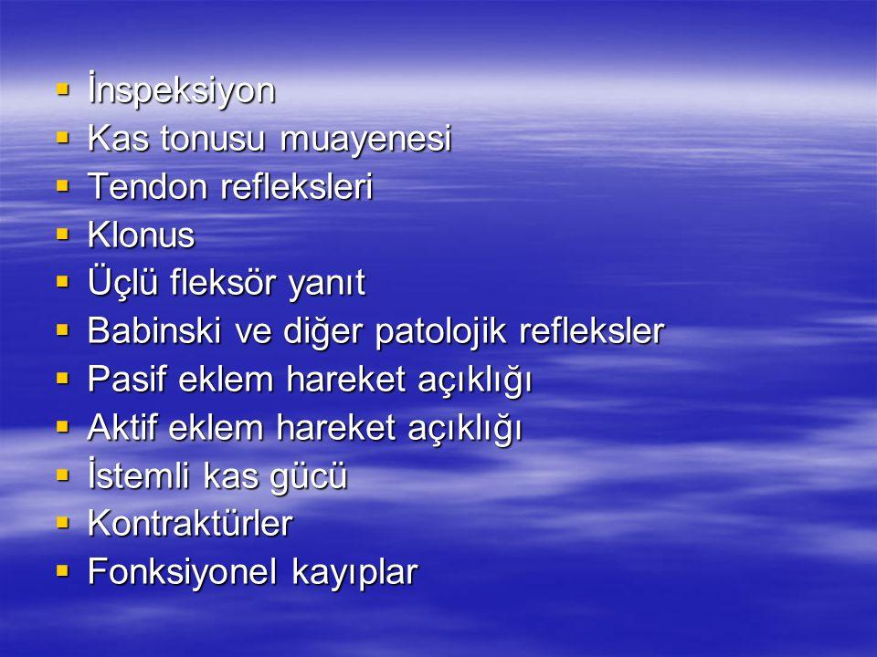 İnspeksiyon Kas tonusu muayenesi. Tendon refleksleri. Klonus. Üçlü fleksör yanıt. Babinski ve diğer patolojik refleksler.