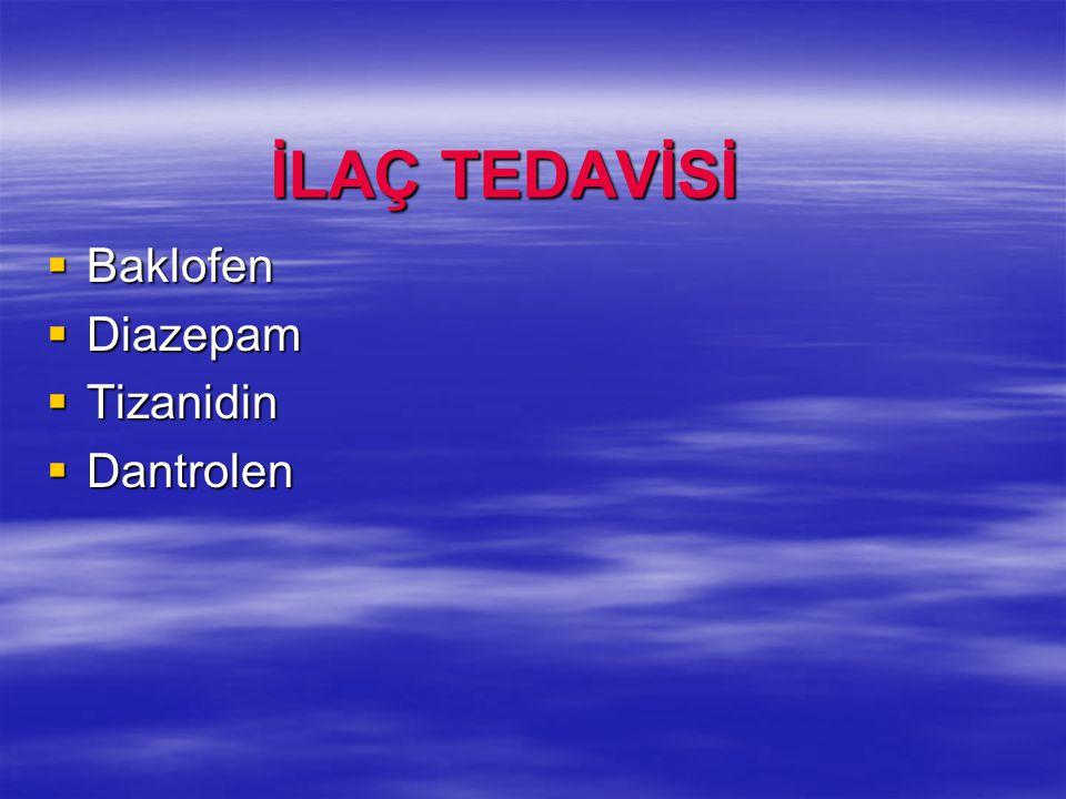 İLAÇ TEDAVİSİ Baklofen Diazepam Tizanidin Dantrolen