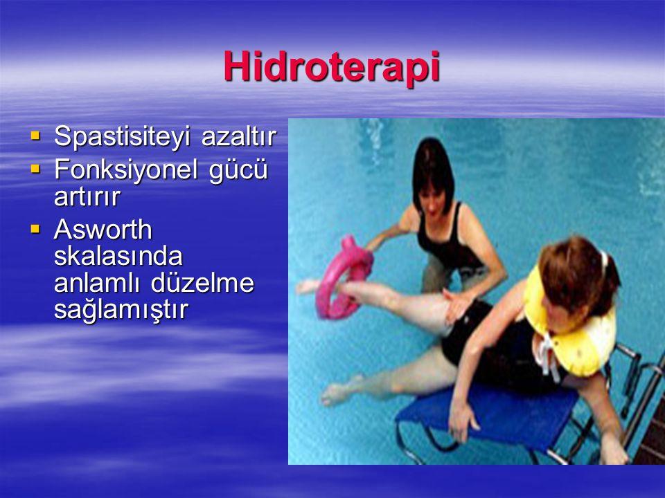 Hidroterapi Spastisiteyi azaltır Fonksiyonel gücü artırır