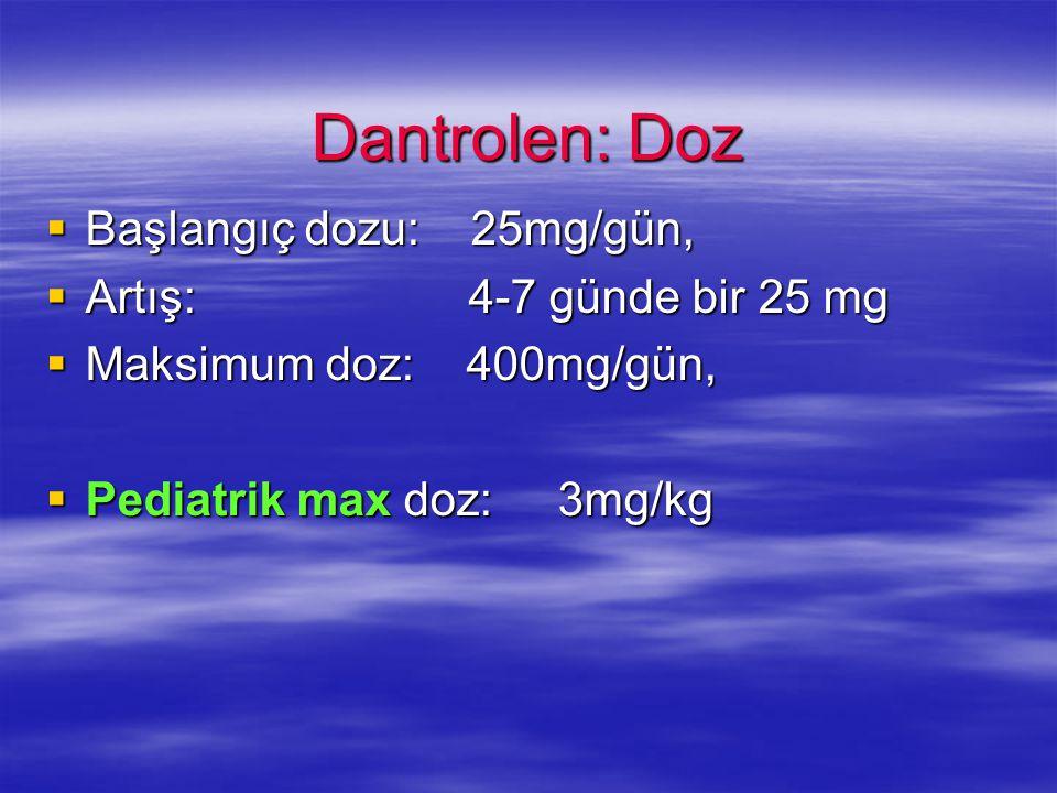 Dantrolen: Doz Başlangıç dozu: 25mg/gün, Artış: 4-7 günde bir 25 mg