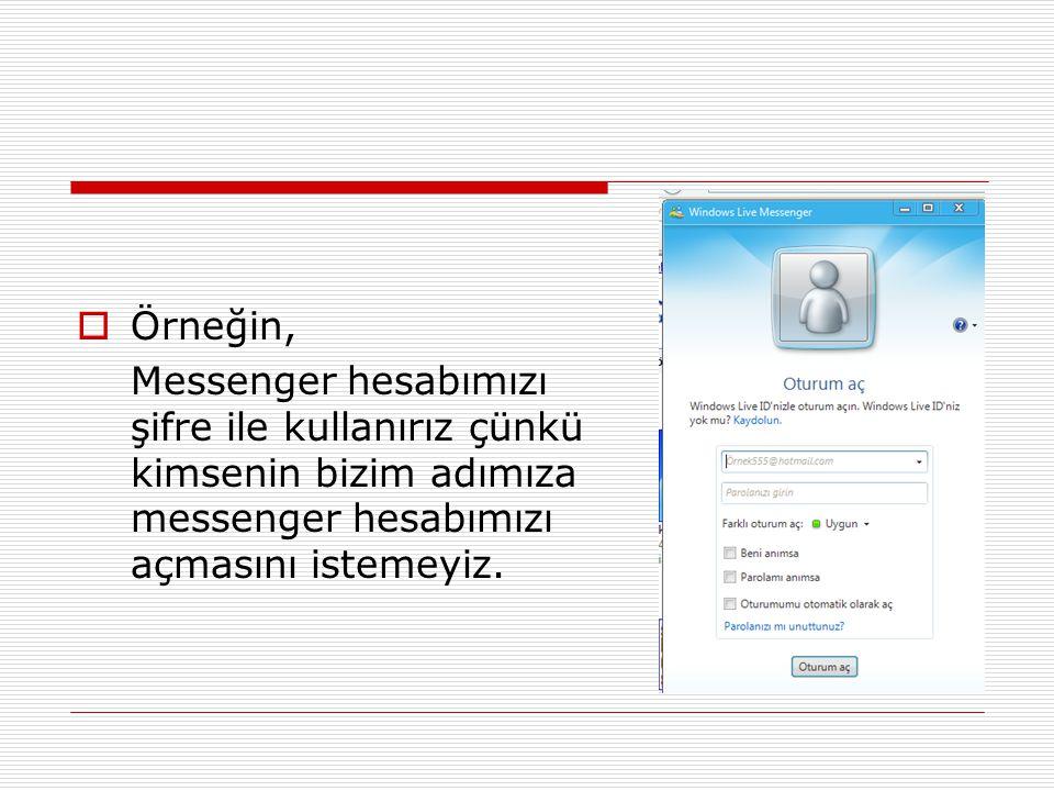 Örneğin, Messenger hesabımızı şifre ile kullanırız çünkü kimsenin bizim adımıza messenger hesabımızı açmasını istemeyiz.