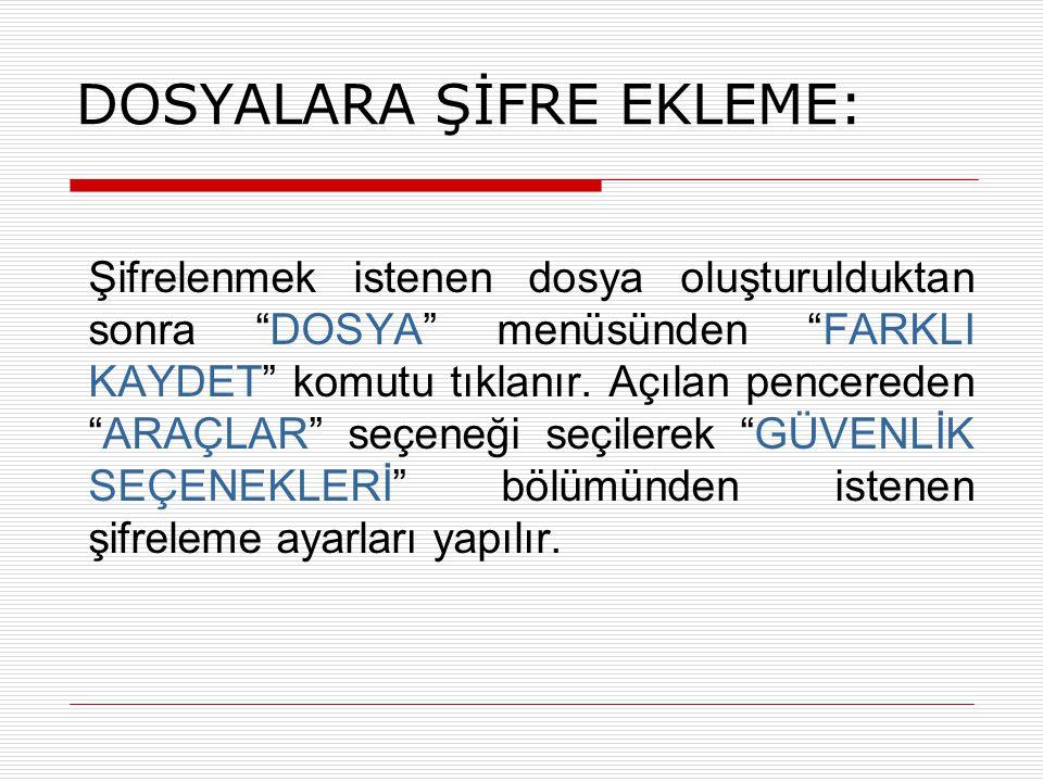 DOSYALARA ŞİFRE EKLEME: