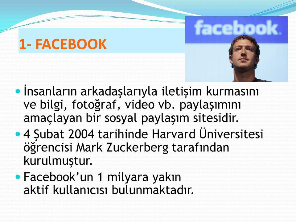 1- FACEBOOK İnsanların arkadaşlarıyla iletişim kurmasını ve bilgi, fotoğraf, video vb. paylaşımını amaçlayan bir sosyal paylaşım sitesidir.