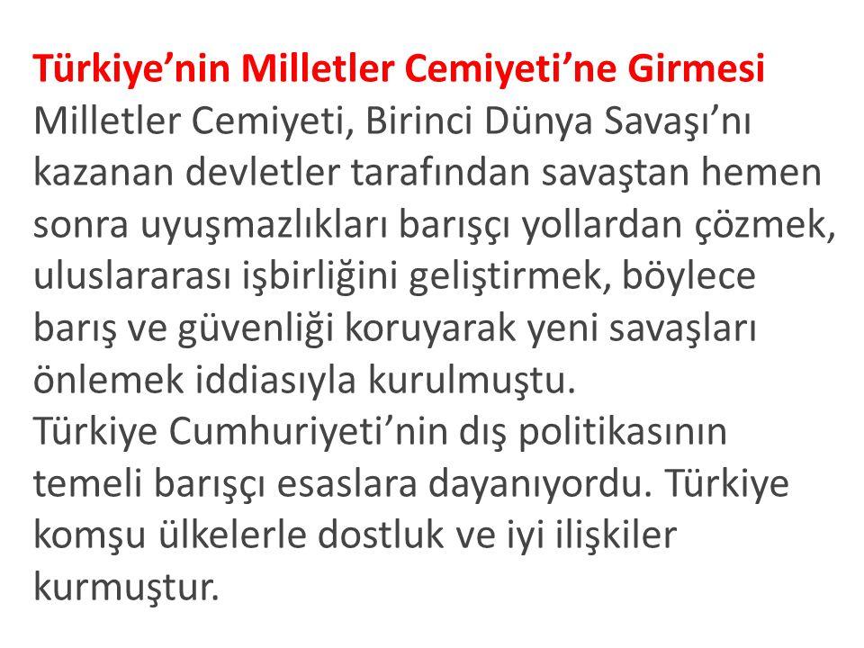 Türkiye'nin Milletler Cemiyeti'ne Girmesi