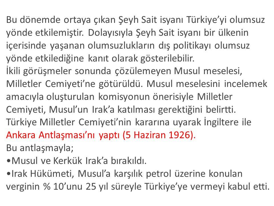 Bu dönemde ortaya çıkan Şeyh Sait isyanı Türkiye'yi olumsuz yönde etkilemiştir. Dolayısıyla Şeyh Sait isyanı bir ülkenin içerisinde yaşanan olumsuzlukların dış politikayı olumsuz yönde etkilediğine kanıt olarak gösterilebilir.