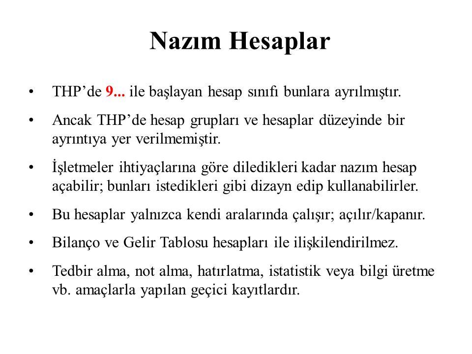 Nazım Hesaplar THP'de 9... ile başlayan hesap sınıfı bunlara ayrılmıştır.