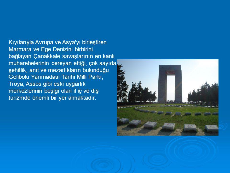 Kıyılarıyla Avrupa ve Asya yı birleştiren Marmara ve Ege Denizini birbirini bağlayan Çanakkale savaşlarının en kanlı muharebelerinin cereyan ettiği, çok sayıda şehitlik, anıt ve mezarlıkların bulunduğu Gelibolu Yarımadası Tarihi Milli Parkı, Troya, Assos gibi eski uygarlık merkezlerinin beşiği olan il iç ve dış turizmde önemli bir yer almaktadır.