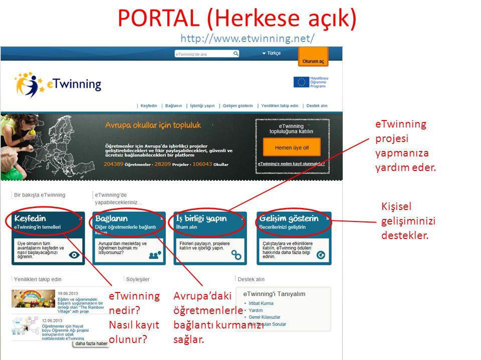 PORTAL (Herkese açık) http://www.etwinning.net/