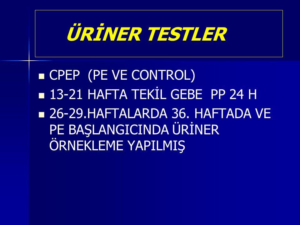 ÜRİNER TESTLER CPEP (PE VE CONTROL) 13-21 HAFTA TEKİL GEBE PP 24 H