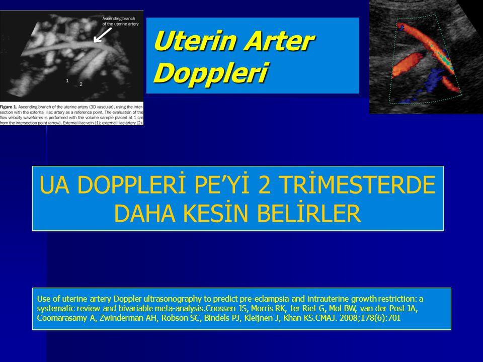 UA DOPPLERİ PE'Yİ 2 TRİMESTERDE DAHA KESİN BELİRLER