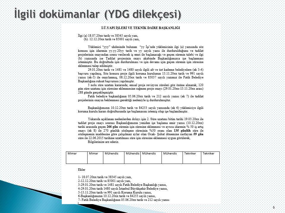 İlgili dokümanlar (YDG dilekçesi)