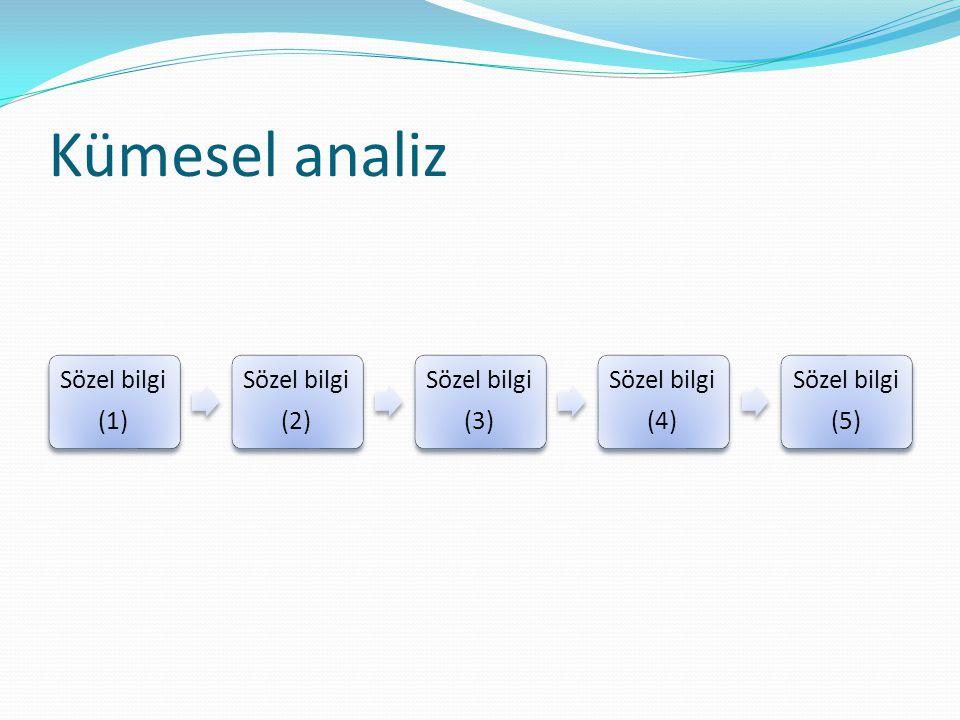 Kümesel analiz Sözel bilgi (1) (2) (3) (4) (5)