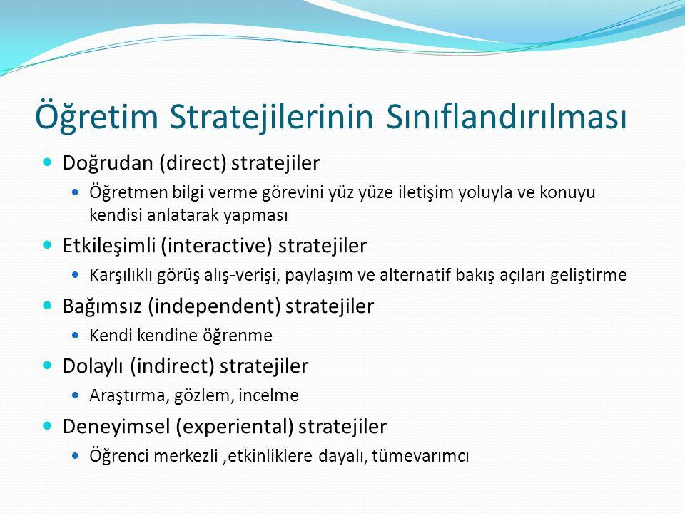 Öğretim Stratejilerinin Sınıflandırılması