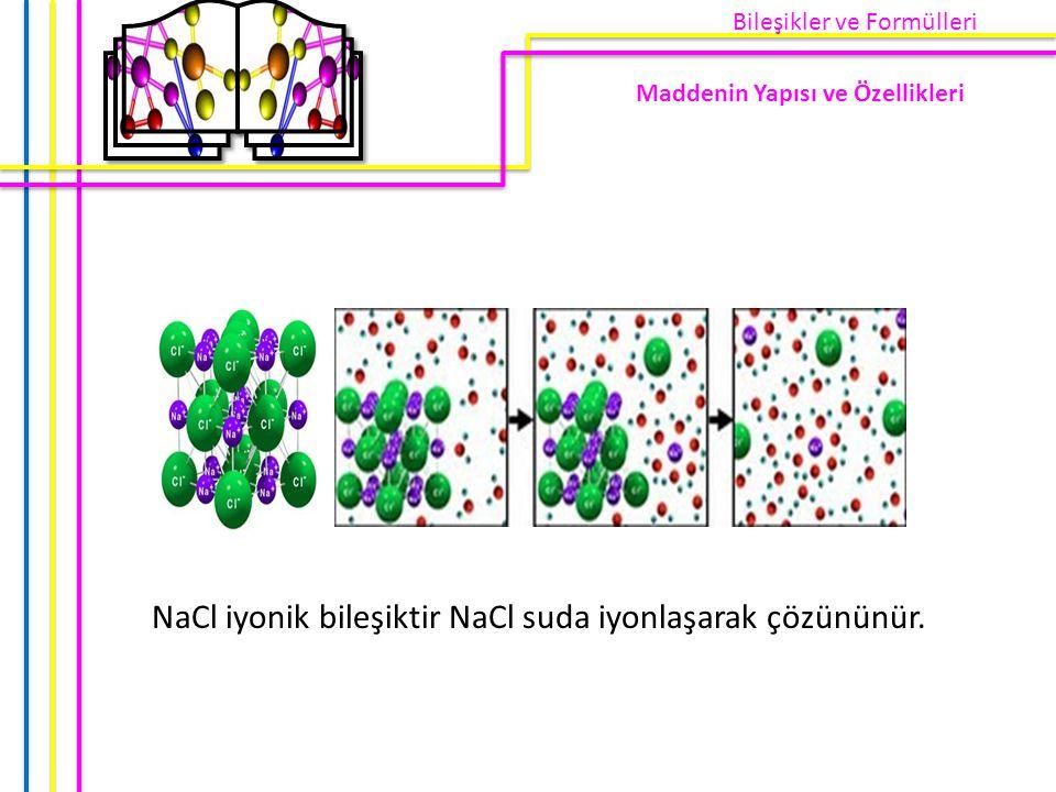 NaCl iyonik bileşiktir NaCl suda iyonlaşarak çözününür.