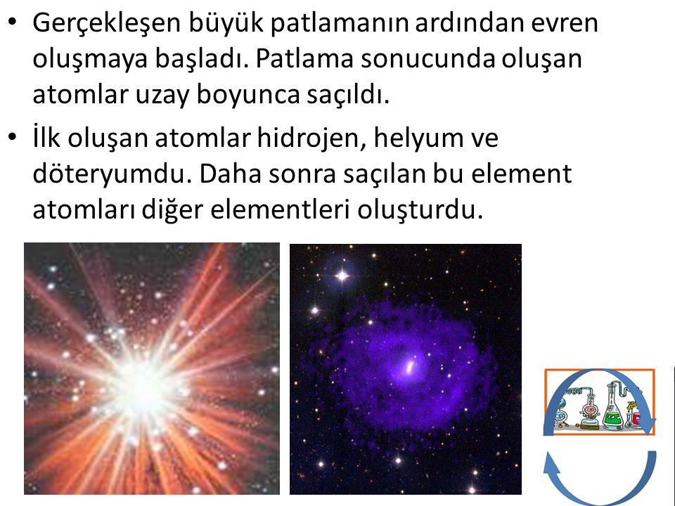 Gerçekleşen büyük patlamanın ardından evren oluşmaya başladı