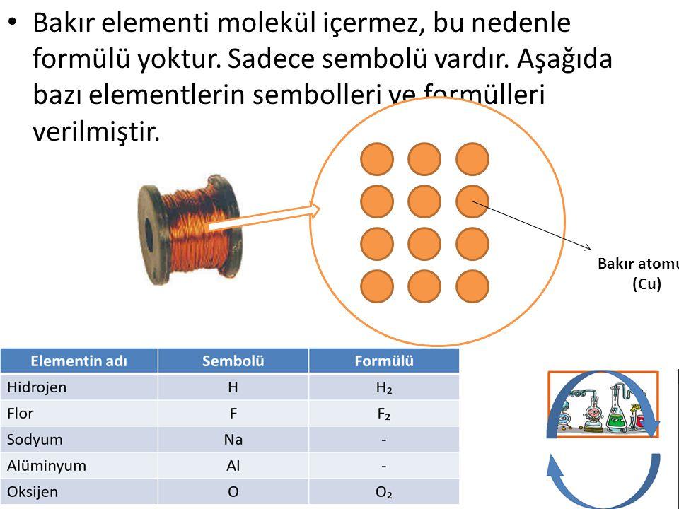 Bakır elementi molekül içermez, bu nedenle formülü yoktur