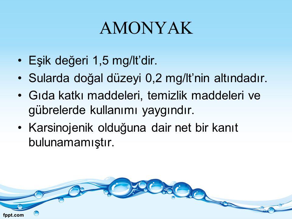 AMONYAK Eşik değeri 1,5 mg/lt'dir.