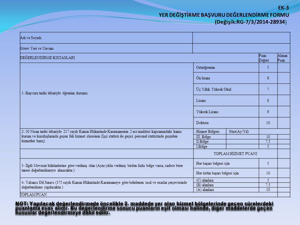EK-3 YER DEĞİŞTİRME BAŞVURU DEĞERLENDİRME FORMU (Değişik:RG-7/3/2014-28934)