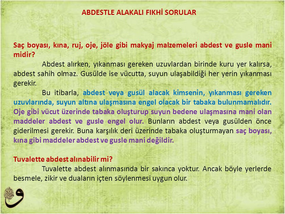 ABDESTLE ALAKALI FIKHİ SORULAR