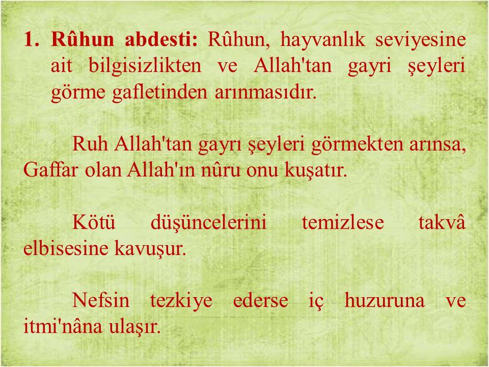Rûhun abdesti: Rûhun, hayvanlık seviyesine ait bilgisizlikten ve Allah tan gayri şeyleri görme gafletinden arınmasıdır.