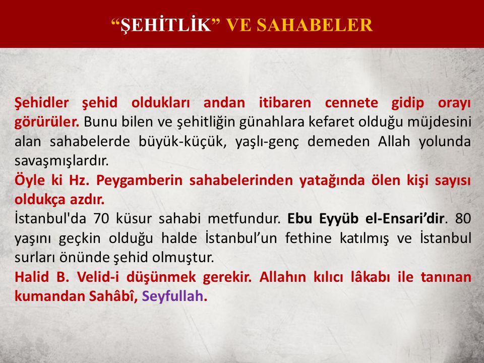 ŞEHİTLİK VE SAHABELER